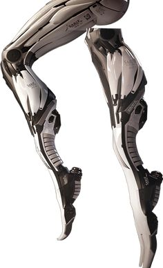 Mech legs on tip toes (Eidos Games : Sarif Industries, 2011) This also shows a section of the advertisment for the game Deus Ex. It depicts the legs of a human but in a way that is mechanical and shapes it into very futuristic and simplified forms of the human alternative.