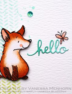 wings of a butterfly—a foxy hello card on the Penny Black Simplicity Blog.