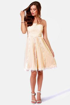 $81 Pretty In Pleats Blush Pink Strapless Lace Dress at LuLus.com!