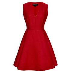 Giambattista Valli Wool and Silk-Blend A-Line Dress ($670) ❤ liked on Polyvore featuring dresses, vestidos, short dresses, red, red v neck dress, v neck a line dress, sleeveless cocktail dress, v neck dress and red a line dress