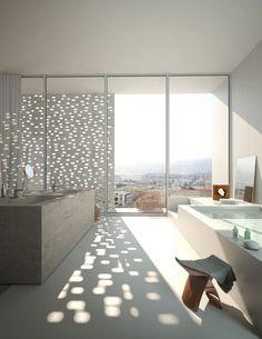 bathroom with city skylight