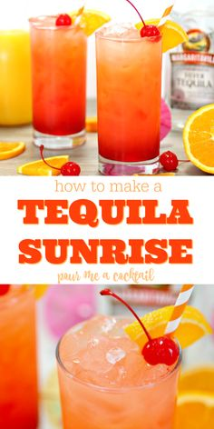 Tequila Sunrise Cocktail Looking for the perfect summer beach drink? This Tequila Sunrise Cocktail is so amazing and easy to make, and it's so pretty too…the perfect drink for watching the sun rise, set or you can just enjoy them all the live long day! Easy Alcoholic Drinks, Alcholic Drinks, Liquor Drinks, Easy Cocktails, Cocktail Drinks, Fun Drinks, Healthy Drinks, Healthy Food, Easy Tequila Drinks