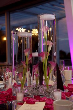 Reception Centerpiece | Submerged Pink Calla Lilies and floa… | Flickr