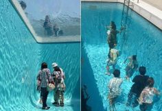Argentinian artist Leandro Erlich created this illusion of people walking underwater called The Swimming Pool, for The 21st Century Museum of Contemporary Art in Kanazawa, Japan. It's pretty much a piece of glass with water on top of it, and empty space on the bottom.