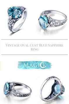 Vintage Oval Cut Aquamarine Ring