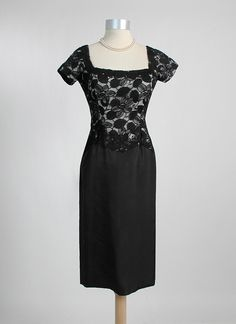 HEMLOCK VINTAGE CLOTHING : 1950's Illusion Lace and Taffeta Cocktail Dress