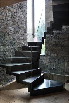 Black stairs modern stairways staircase design Ideas for 2019 Interior Stairs, Interior Architecture, Interior Design, Building Architecture, Black Stairs, Escalier Design, Floating Staircase, Dark Staircase, Spiral Staircases