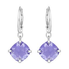 Swarovski Lucid Pierced Earrings ($71) ❤ liked on Polyvore featuring jewelry, earrings, swarovski earrings, rhodium plated jewelry, purple jewelry, purple earrings and sparkly earrings