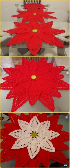 Crochet Poinsettia Flower Table Runner Free Pattern- Crochet Table Runner Free Patterns