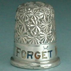 Unusual Antique English Sterling Silver Enameled Thimble * Forget Me Not * C1880