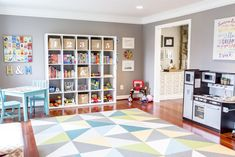 A bright and bold modern playroom. I prioritized storage, along with plenty of space for the kids to build or run or be crazy. A bright and bold modern playroom. I prioritized storage, along with plenty of space for the kids to build or run or be crazy. Colorful Playroom, Modern Playroom, Playroom Design, Playroom Decor, Playroom Ideas, Nursery Ideas, Kids Playroom Colors, Kids Playroom Rugs, Playroom Layout
