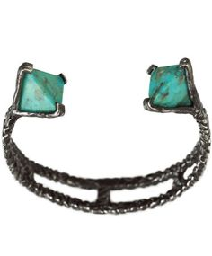 Turquoise Silver Prism Cuff