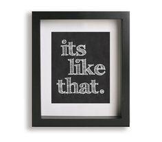 It's Like That / Run DMC - Lyric Art Print - wall decor, wall art, typography print, gift idea, chalk board, gift for teacher, fathers day on Etsy, $19.95