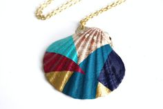 Sea Shell Necklace Pendant Necklace - Magenta, Turquoise, Gold, Teal, Navy Blue Color Block Geometry. $60.00, via Etsy.