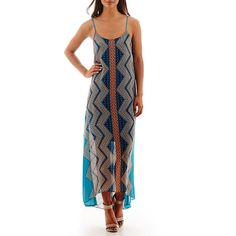 Bisou Bisou Sleeveless Print Trapeze Maxi Dress Blue ($28) ❤ liked on Polyvore featuring dresses, chiffon dresses, white sleeveless dress, white chiffon dress, trapeze dresses and white dress