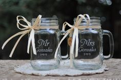 Mr and Mrs Mason Jar Mugs with wood charms.  Font and handle direction choices on Etsy, $32.11 AUD