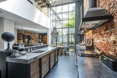 Cocina industrial & Love Ladrillo visto.