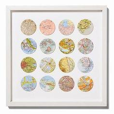 bespoke multi circle map art by bombus Map Crafts, Travel Crafts, Diy And Crafts, Arts And Crafts, Circle Map, Circle Punch, Colorful Wall Art, Vintage Maps, Etsy Vintage