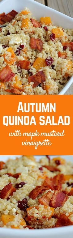 This autumn quinoa salad with roasted squash and bacon is a great side dish or even a main dish. Get the easy recipe on RachelCooks.com!