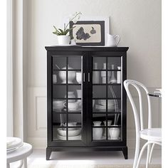 "Paterson Black 36.5"" Two Door Cabinet in Bookcases & Cabinets 