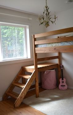 Ana White, Build a Camp Loft Bed with Stair, Junior Height, Free and Easy DIY Project and Furniture Plans