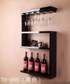 Wine Shipping Boxes Near Me Info: 4273961295 Hanging Wine Rack, Wine Glass Rack, Wood Wine Racks, Wine Rack Wall, Mini Bars, Wall Shelves, Shelving, Wine Rack Design, Wine Storage