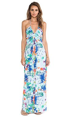 T-Bags LosAngeles Plunging Halter Maxi Dress in Blue Floral | REVOLVE