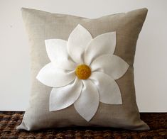 White and Yellow Flower PILLOW COVER in Natural Linen by JillianReneDecor Decorative Home Decor (16x16) Gift for Her. $47.50, via Etsy.