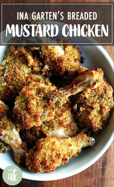 Ina Garten's Dijon Mustard Roasted Chicken Thighs: After marinating in dijon mustard and buttermilk, these mustard roasted chicken legs are topped with a layer of herbed bread crumbs, which crisp up beautifully in the oven and taste absolutely divine. Chicken Crisps, Bread Crumb Chicken, Roasted Chicken Legs, Breaded Chicken, Teriyaki Chicken, Fried Chicken, Rosted Chicken, Roasted Chicken Breast, Chicken Skin