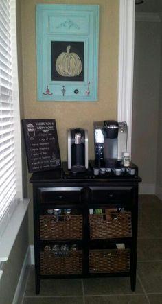 Coffee Bar with Hobby Lobby furnishings.