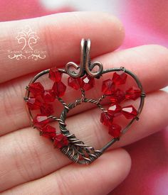 Valentine's Day Romantic Red Tree of Life by RachaelsWireGarden