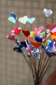 oragami heart bouquet can put on pencils
