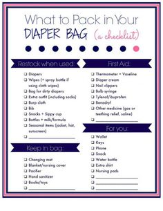What to pack in you diaper bag: A free printable checklist - Pregnancy - Baby Tips Diaper Bag Checklist, Diaper Bag Essentials, Baby Checklist, Diaper Bag List, Hospital Bag Checklist, Baby Bag List, Boy Diaper Bags, Newborn Essentials, Camping Checklist