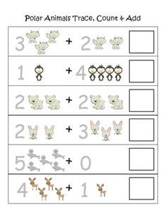 $ Polar Animals Trace, Count, & Add (6 Sheets) for Kindergarten-3 sets, each having a sheet with tracing numbers, or a box to fill in the numbers. Each set gets a harder.