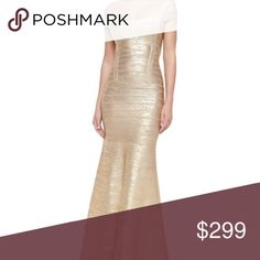 Lora Herve Leger Brand new with tags. Great deal!!! Beautiful gold goddess gown. Herve Leger Dresses