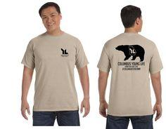 YL Bear shirt on Sandstone comfort color