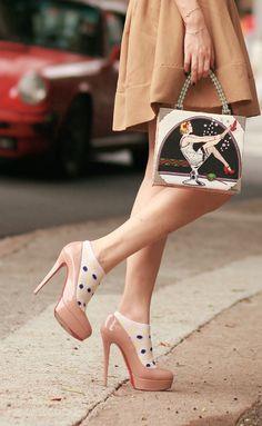 #louboutin #brayola with polka dot ankle socks
