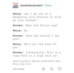 Percy Jackson and Grover conversations in a nutshell | pjo