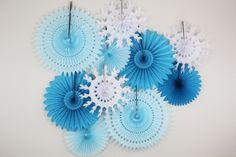 Birthday Decorations- Tissue Paper Fans snowflake light blue turquoise. winter ice theme () by TeroDesigns