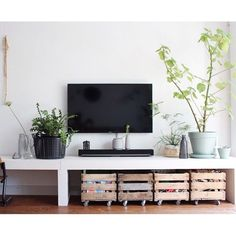 Like this tv and shelf combo with rolling crates for toys.