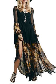Chic Floral Printing Long Sleeve Maxi Chiffon Dress