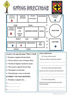 asking and giving directions worksheet for kids or writers needing a sample town map have. Black Bedroom Furniture Sets. Home Design Ideas