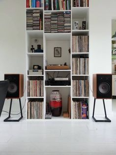 stereo system in book case - Google Search