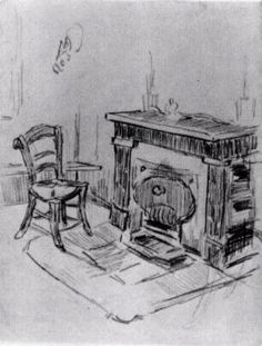 Mantelpiece with Chair, 1890 Vincent van Gogh