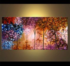 """Landscape Blooming Trees Painting Original Abstract Modern Acrylic by Osnat - MADE-TO-ORDER - 48""""x24"""""""