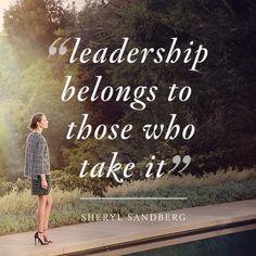 """Leadership belongs to those who take it"" - Sheryl Sandberg #StJohnKnits sjk.com"