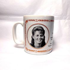 Vintage Kiln Craft pottery mug commemorating the March 1986 royal engagement of Prince Andrew and Sarah Ferguson.