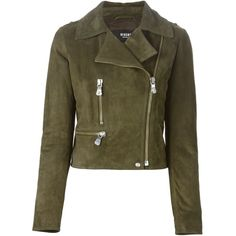 Versus biker jacket (3.183.180 COP) ❤ liked on Polyvore featuring outerwear, jackets, coats, coats & jackets, green, leather jacket, moto jacket, green jacket, brown jacket and motorcycle jacket
