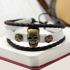 $4.85 (Buy here: http://appdeal.ru/bbm7 ) Punk Style Cross Pattern Skull Shape Design Wrap Faux Leather Bracelet For Men for just $4.85
