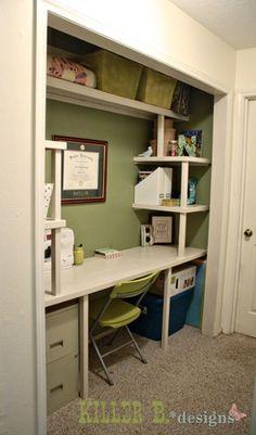 New Home Office Closet Desk Ideas Home Office Closet, Closet Desk, Guest Room Office, Closet Bedroom, Closet Space, Bedroom Storage, Craft Room Closet, Closet Doors, Office Desk